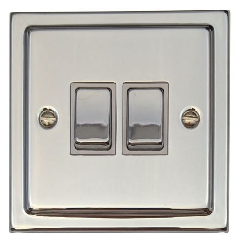 G&H TC202 Trimline Plate Polished Chrome 2 Gang 1 or 2 Way Rocker Light Switch